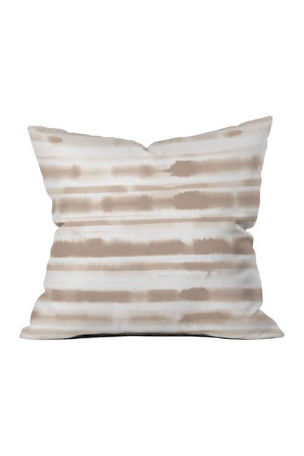 Image of Deny Designs Jacqueline Maldonado Watercolor Stripes Taupe Square Throw Pillow