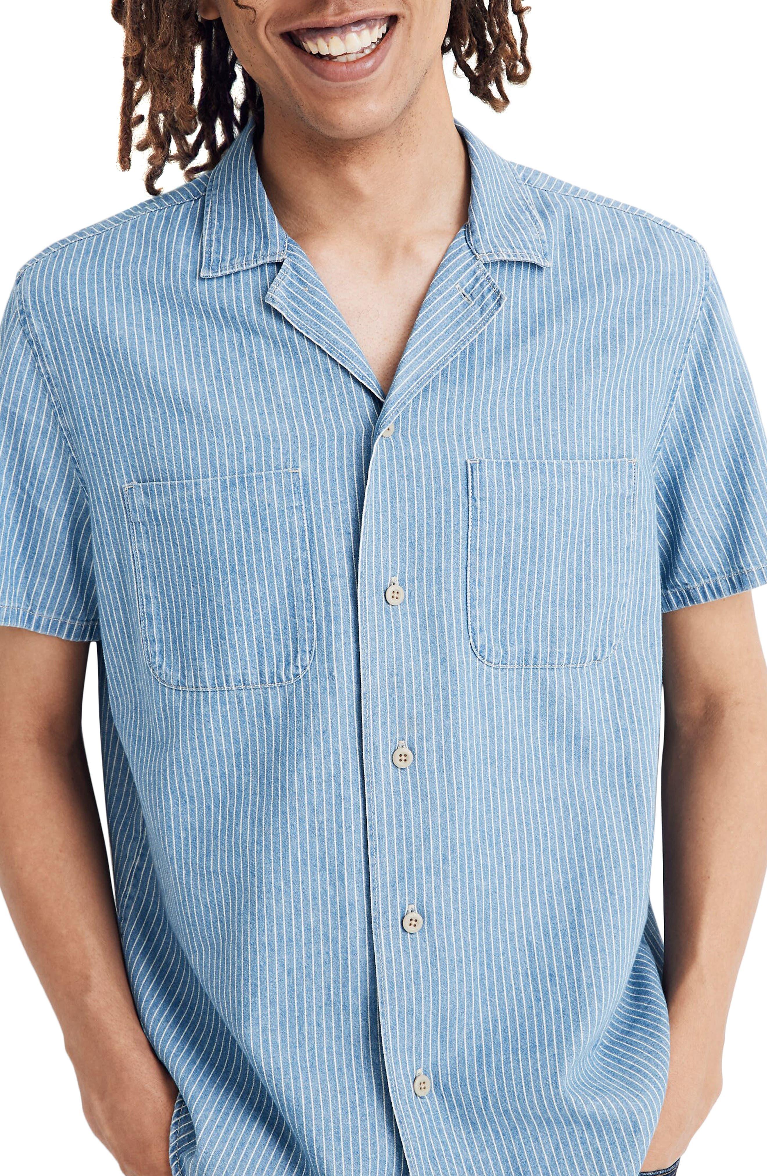 Mens Vintage Shirts – Retro Shirts Mens Madewell Easy Indigo Railroad Stripe Camp Shirt Size X-Small - Blue $47.70 AT vintagedancer.com