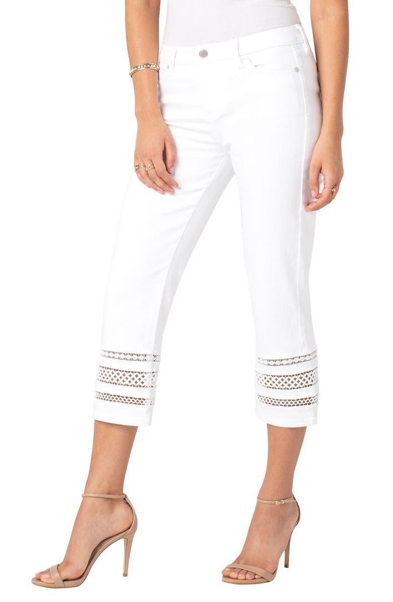 LIVERPOOL Sadie Lace Hem Straight Leg Crop Jeans, Main, color, 105