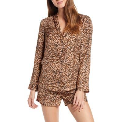 Something Navy Satin Nightshirt Pajamas, Brown (Nordstrom Exclusive)