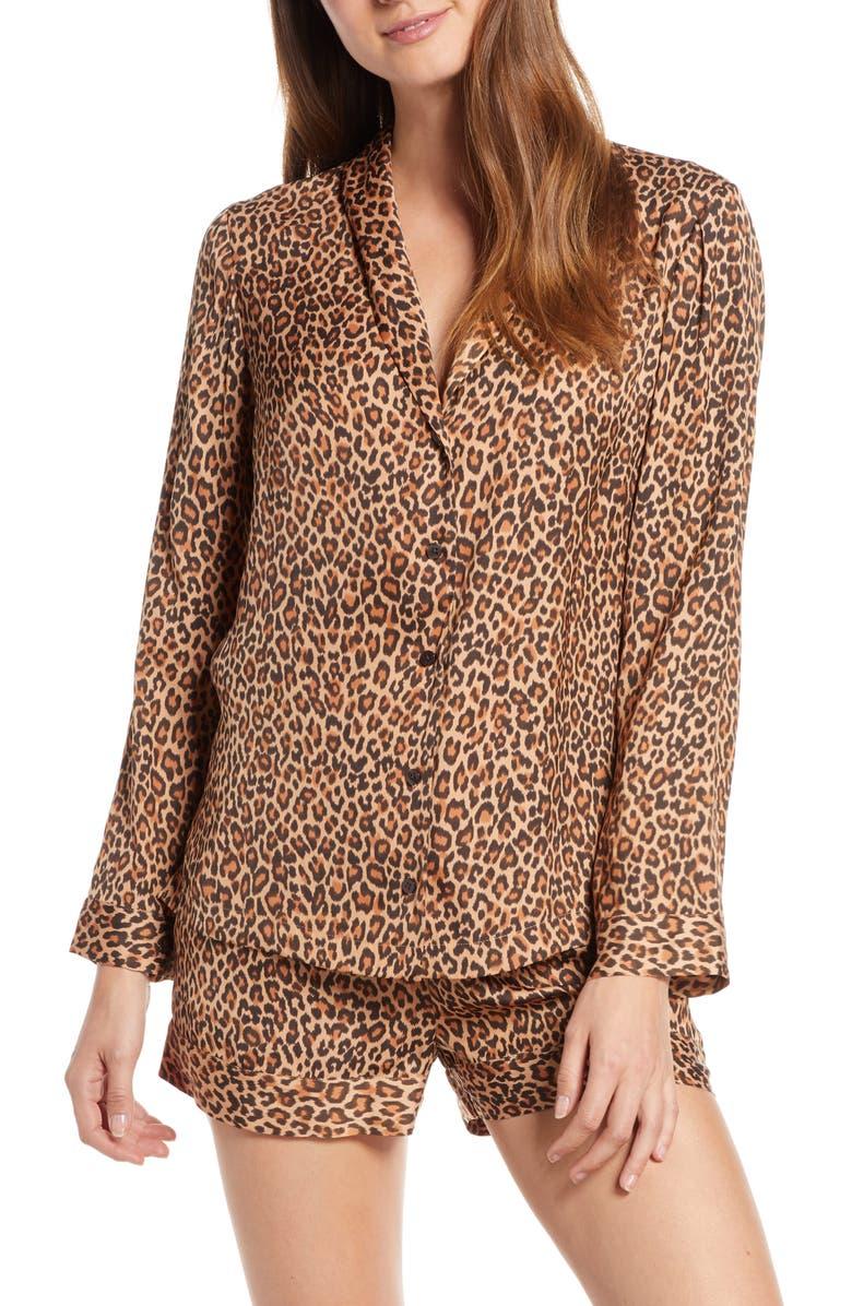 SOMETHING NAVY Satin Nightshirt Pajamas, Main, color, TAN MACARRON CHEETAH