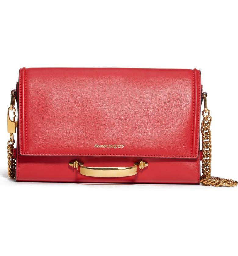 ALEXANDER MCQUEEN The Story Leather Shoulder Bag, Main, color, DEEP RED/ BLACK