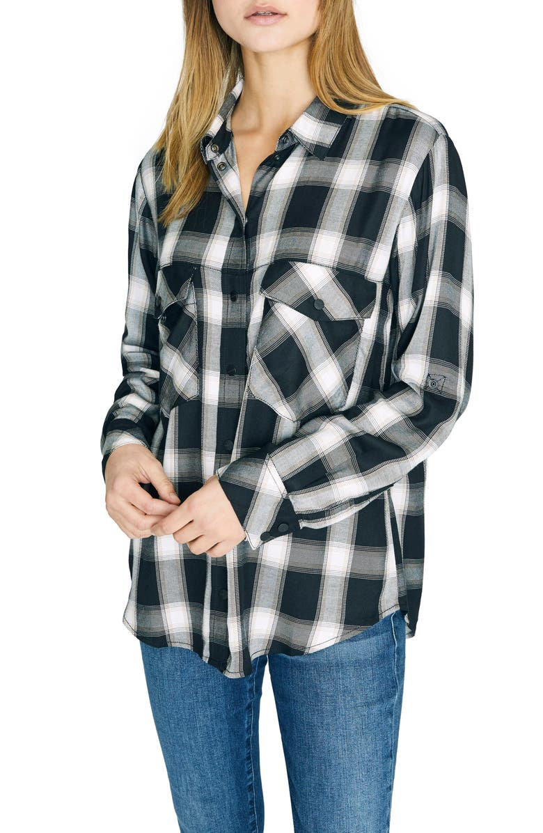 SANCTUARY New Generation Plaid Boyfriend Shirt, Main, color, BE REAL PLAID