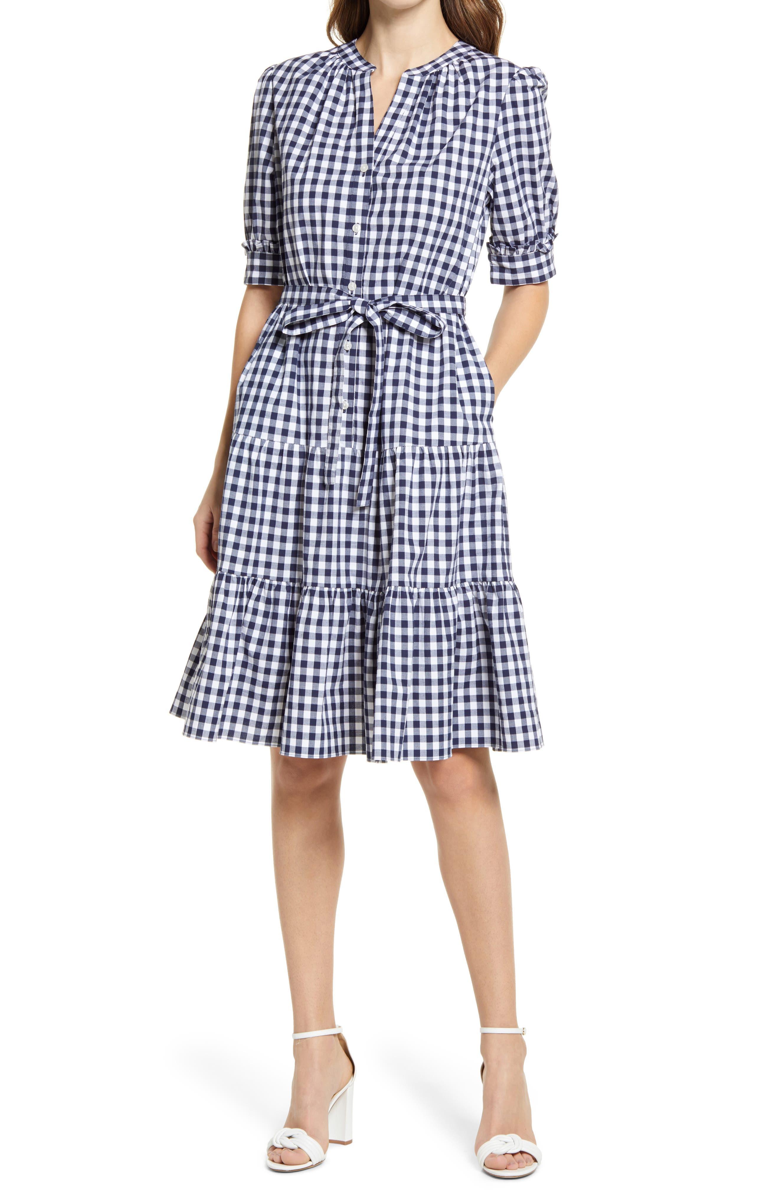 Puff Sleeve Stretch Cotton Dress