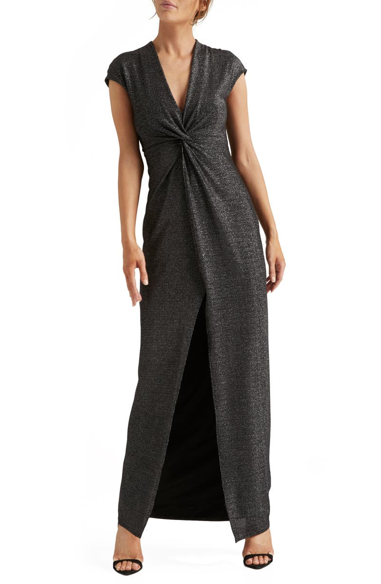 HALSTON HERITAGE Metallic Twist Front Jersey Gown, Main, color, BLACK/ SILVER