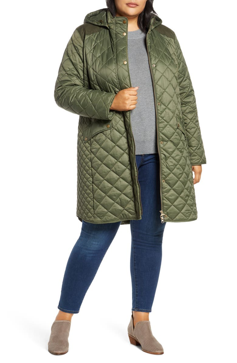 BARBOUR Burne Quilted Coat, Main, color, OLIVE