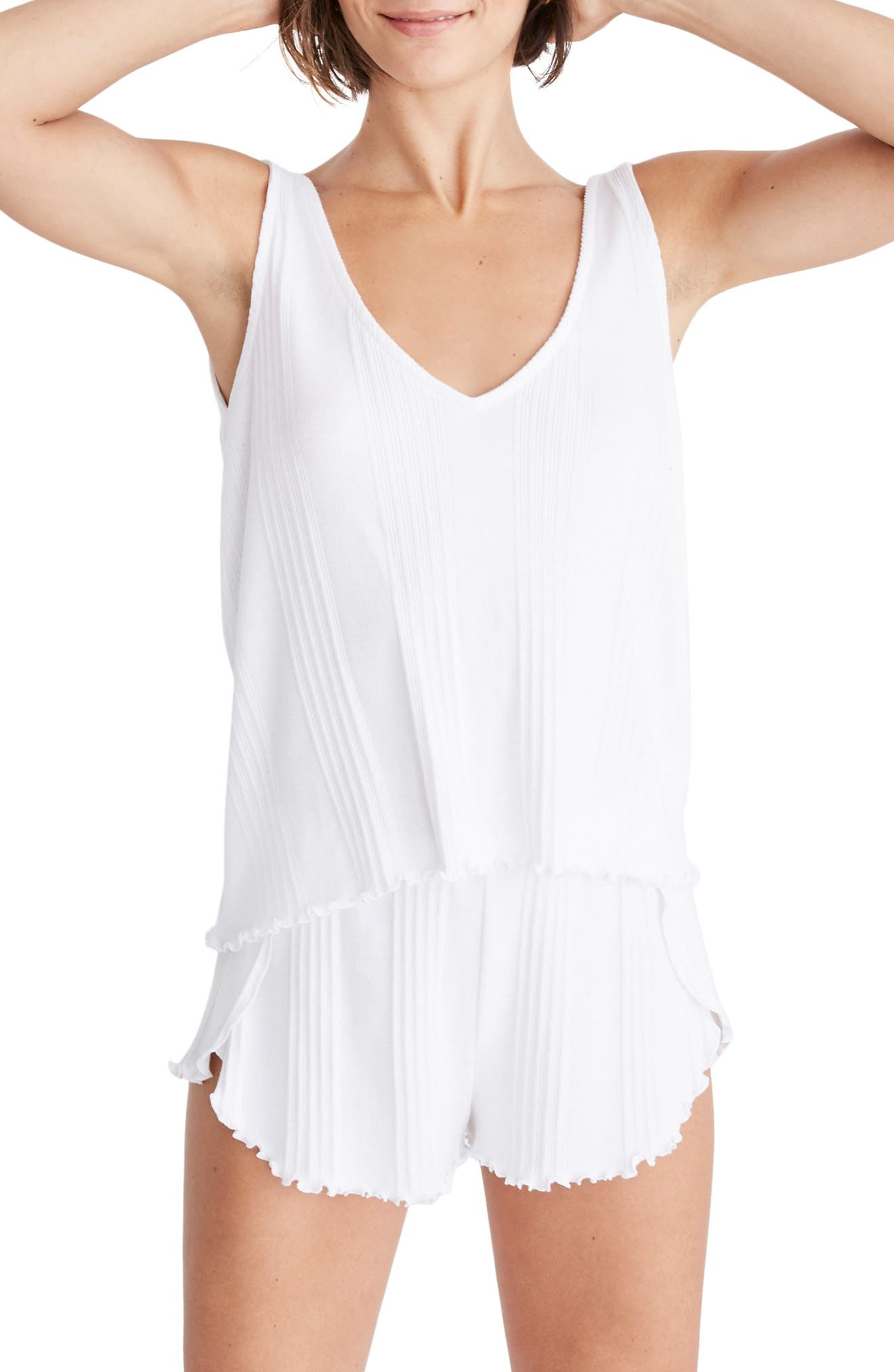Madewell Ribbed Knit Pajama Tank Top, White