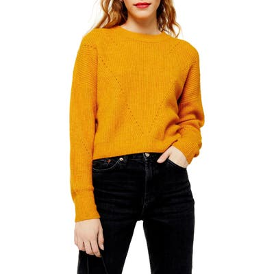 Petite Topshop Super Soft Pointelle Sweater, Yellow