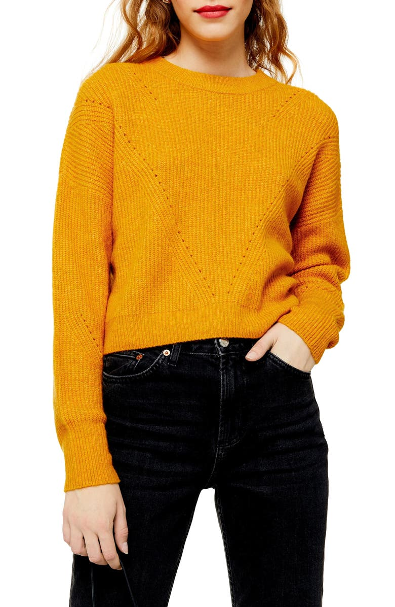 TOPSHOP Crop Sweater, Main, color, MUSTARD