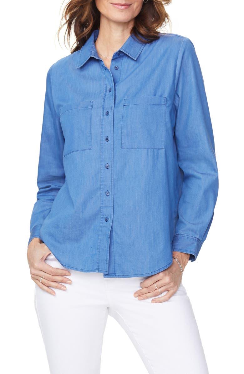 NYDJ Cotton Blend Utility Shirt, Main, color, AZURE SKY WASH