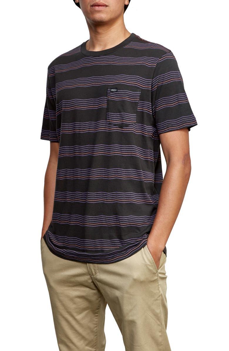 RVCA Wavy Stripe Pocket T-Shirt, Main, color, PIRATE BLACK