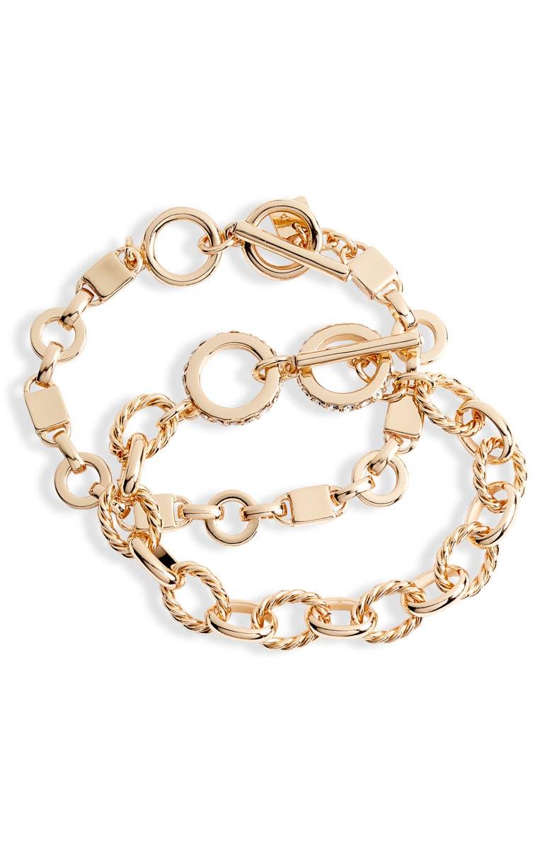 RACHEL PARCELL Set of 2 Chain Link Bracelets, Main, color, 710