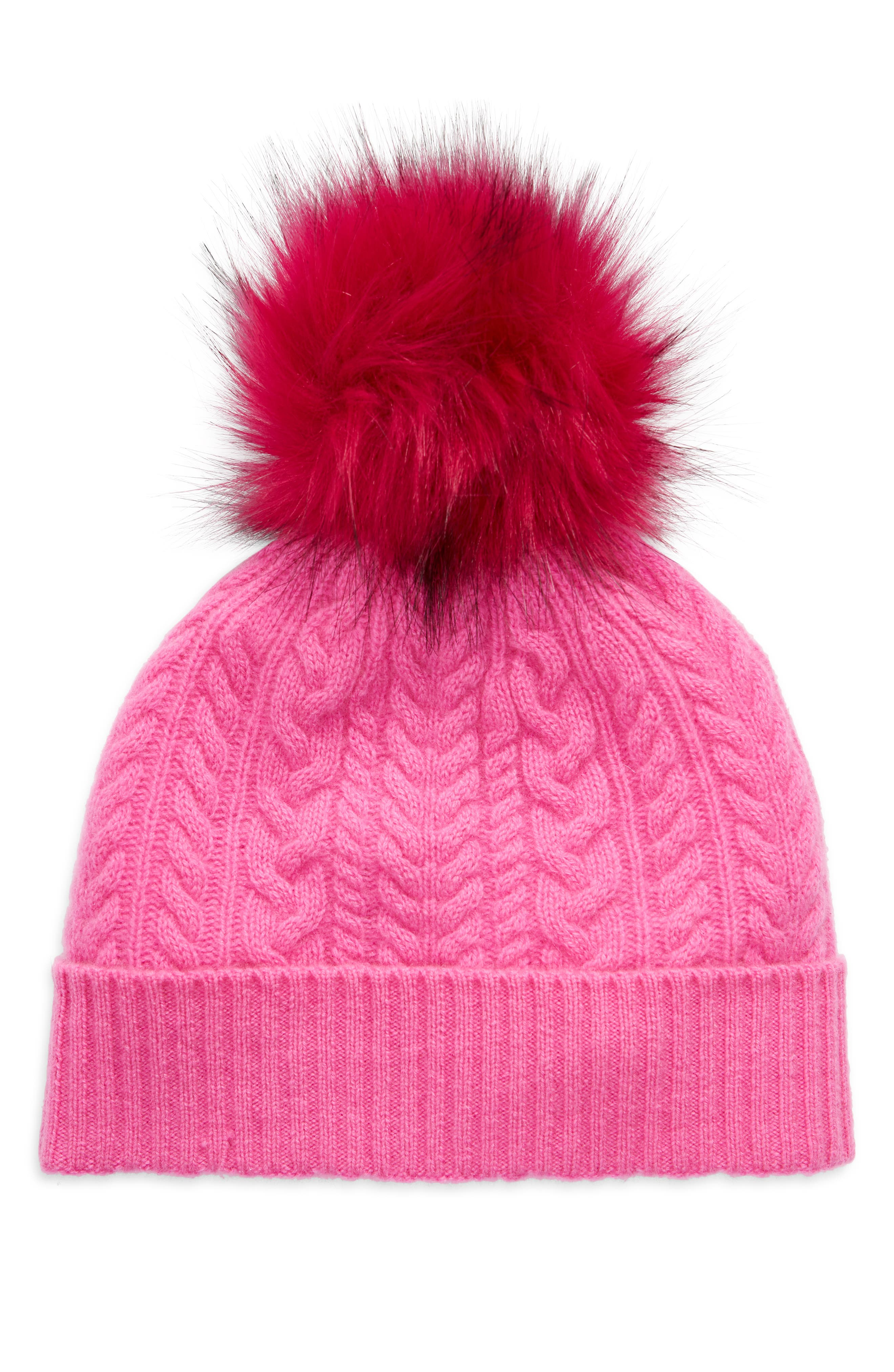 A fluffy faux-fur pom sits atop this luxe cashmere beanie knit with cozy cables and softly ribbed trim. Style Name: Halogen Cash Chunky Faux Fur Pom Cashmere Beanie. Style Number: 6080840. Available in stores.