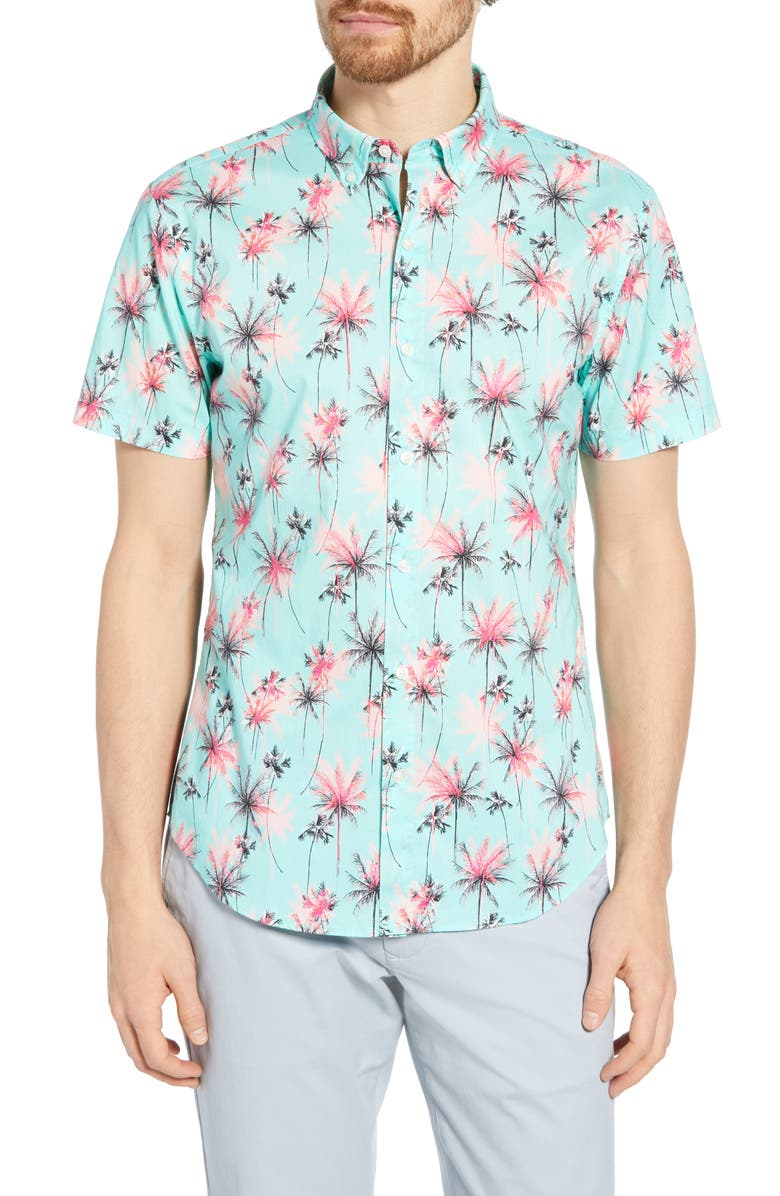 BONOBOS Riviera Slim Fit Palm Print Shirt, Main, color, PALM TREES AQUA