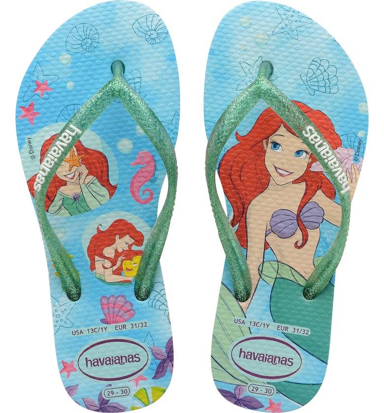 HAVAIANAS Disney Princess Flip Flop, Main, color, MENTHA GREEN