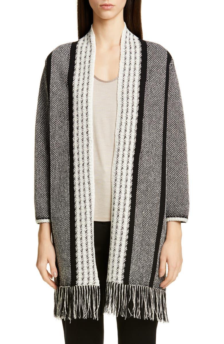 ST. JOHN COLLECTION Linear Basket Stripe Knit Cardigan, Main, color, CAVIAR/ CREAM/ WHITE