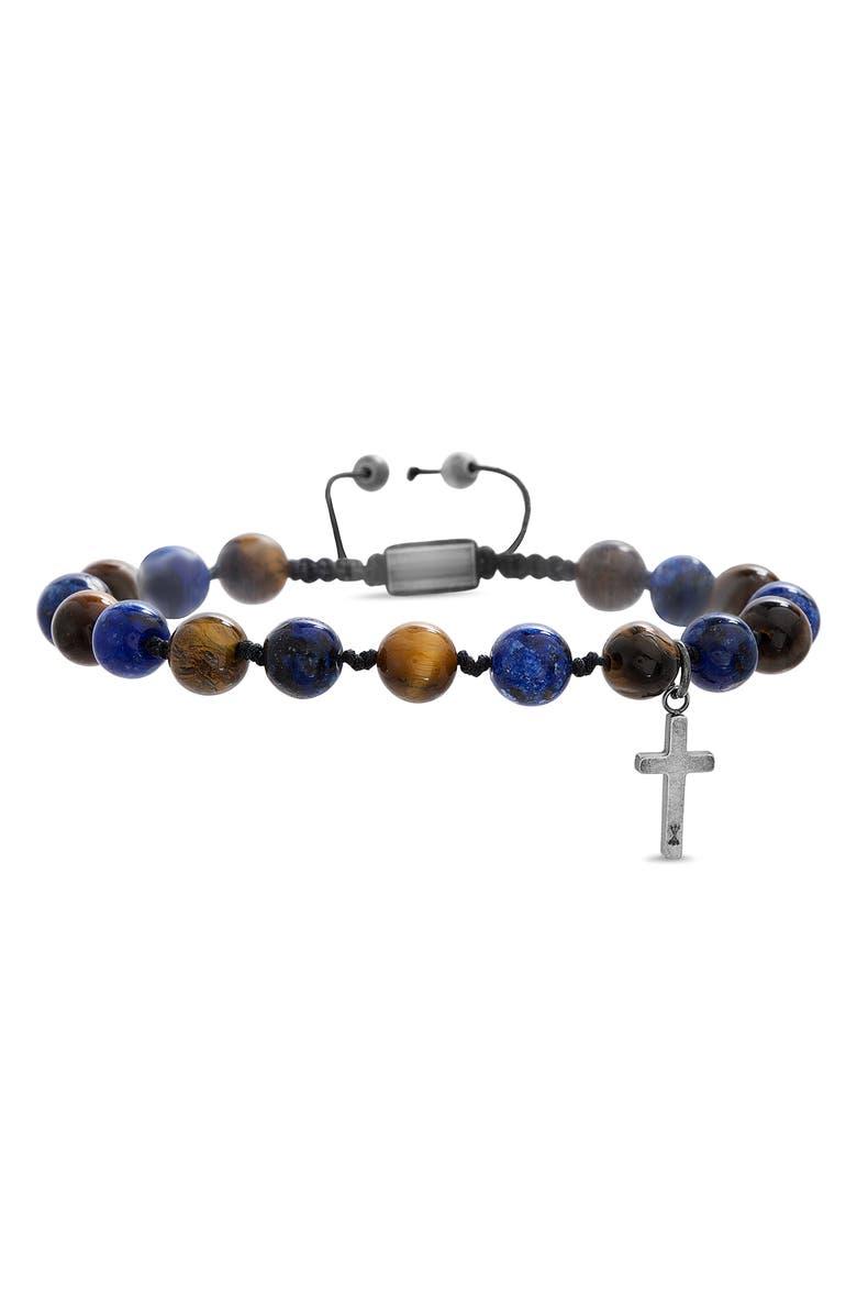 STEVE MADDEN Cross Beaded Bracelet, Main, color, BLUE