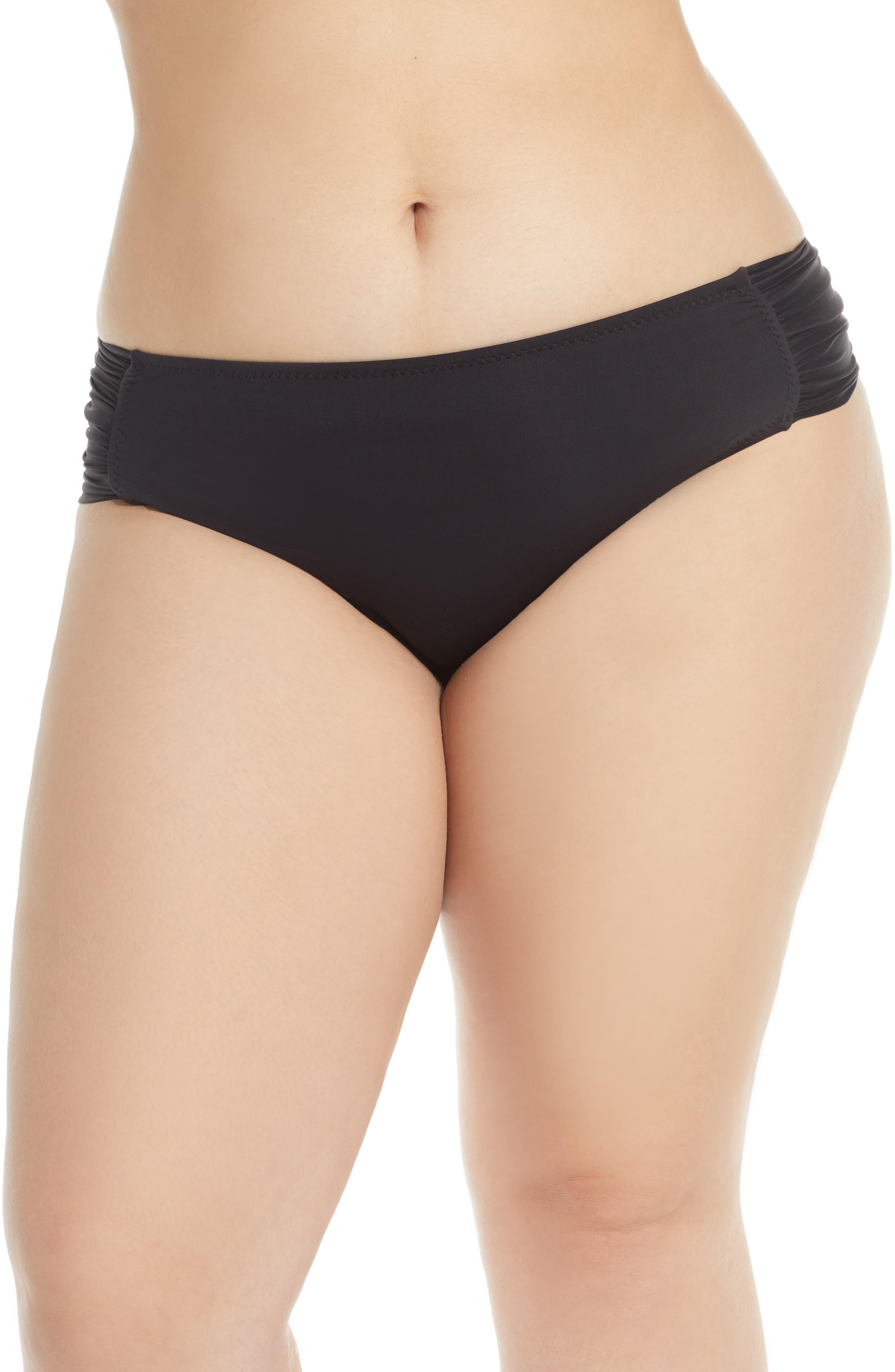 Plus Size Becca Etc. Color Code Tab Side Bikini Bottoms, Black