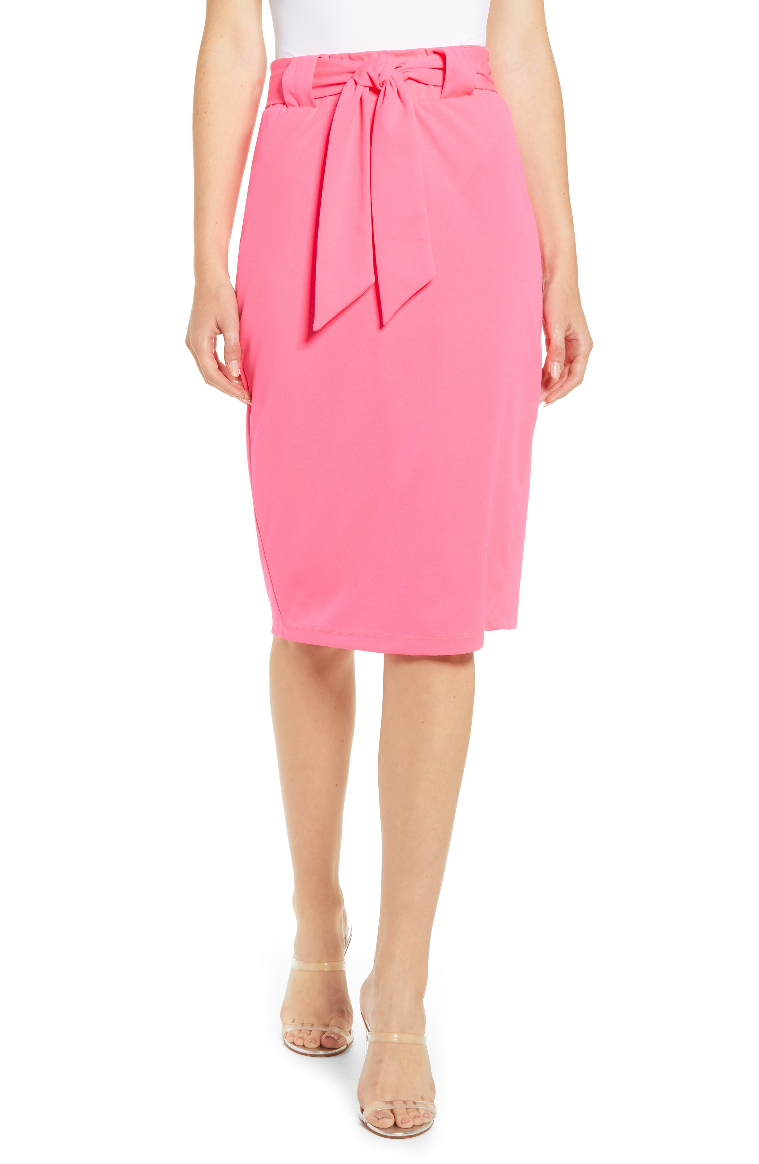 Sentimental Ny Paperbag Waist Pencil Skirt, Pink