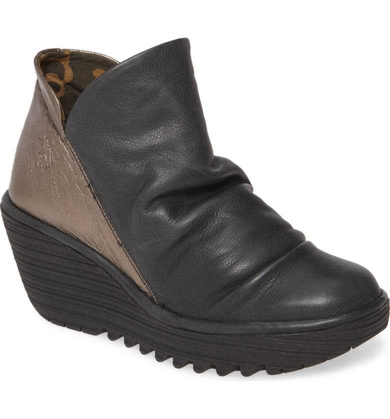 FLY LONDON 'Yip' Wedge Bootie, Main, color, BLACK/ BRONZE LEATHER