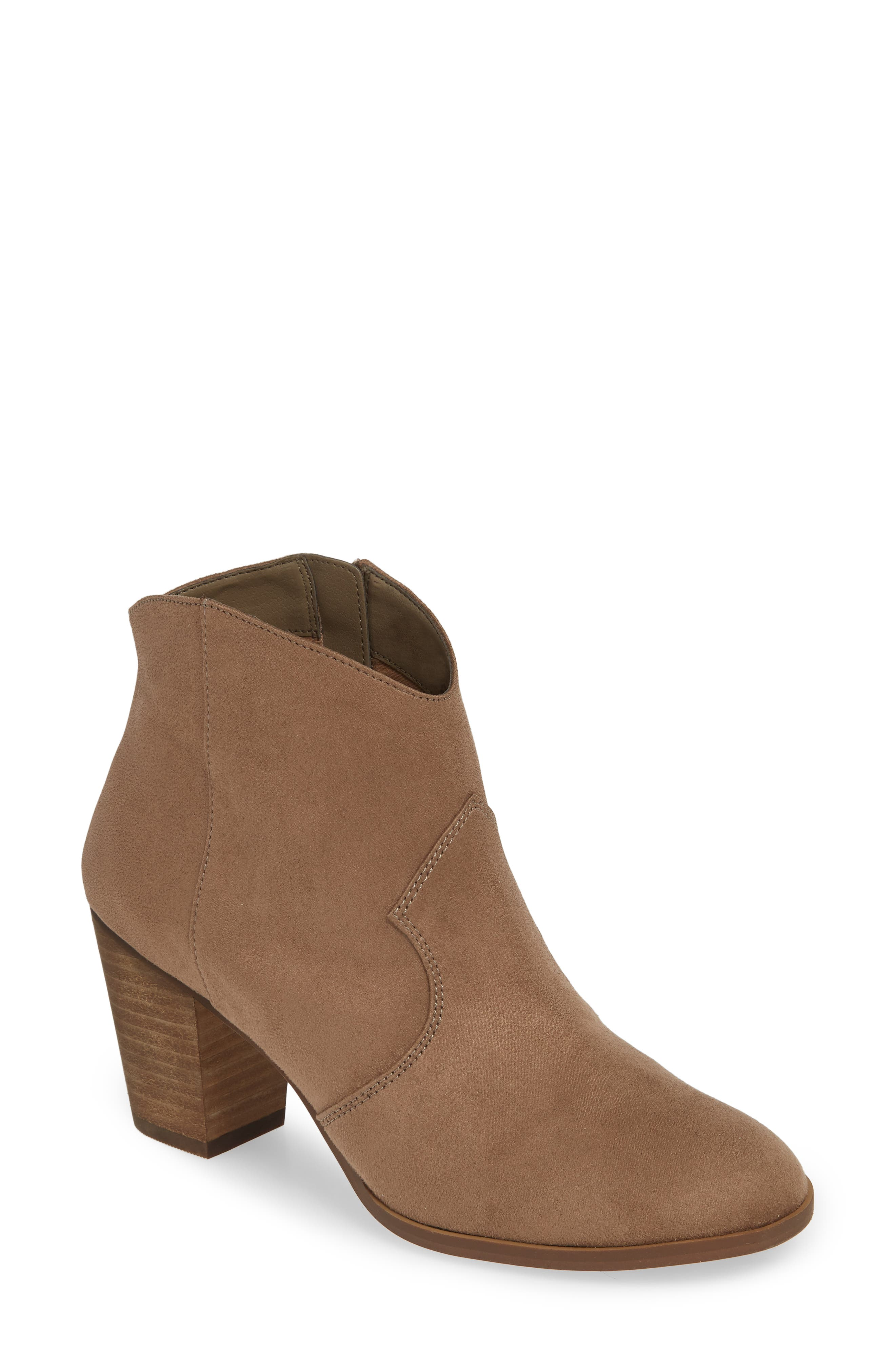 ,                             Nolly Bootie,                             Main thumbnail 1, color,                             TAUPE FAUX SUEDE