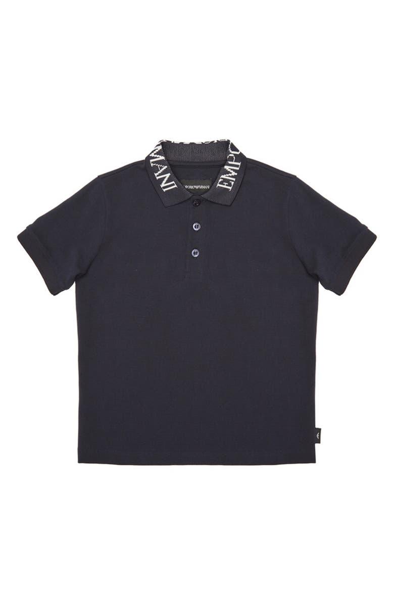 ARMANI JUNIOR Logo Collar Polo Shirt, Main, color, BLU NAVY