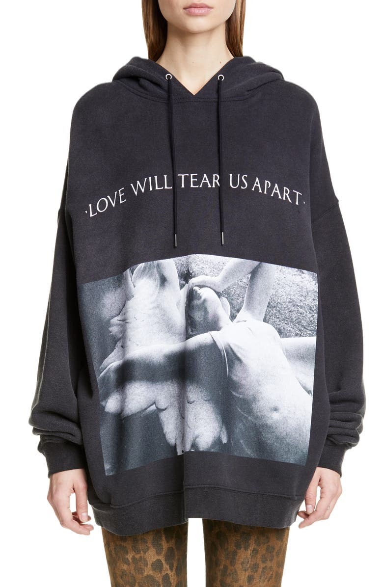 R13 'Love Will Tear Us Apart' Oversize Hoodie, Main, color, ACID BLACK