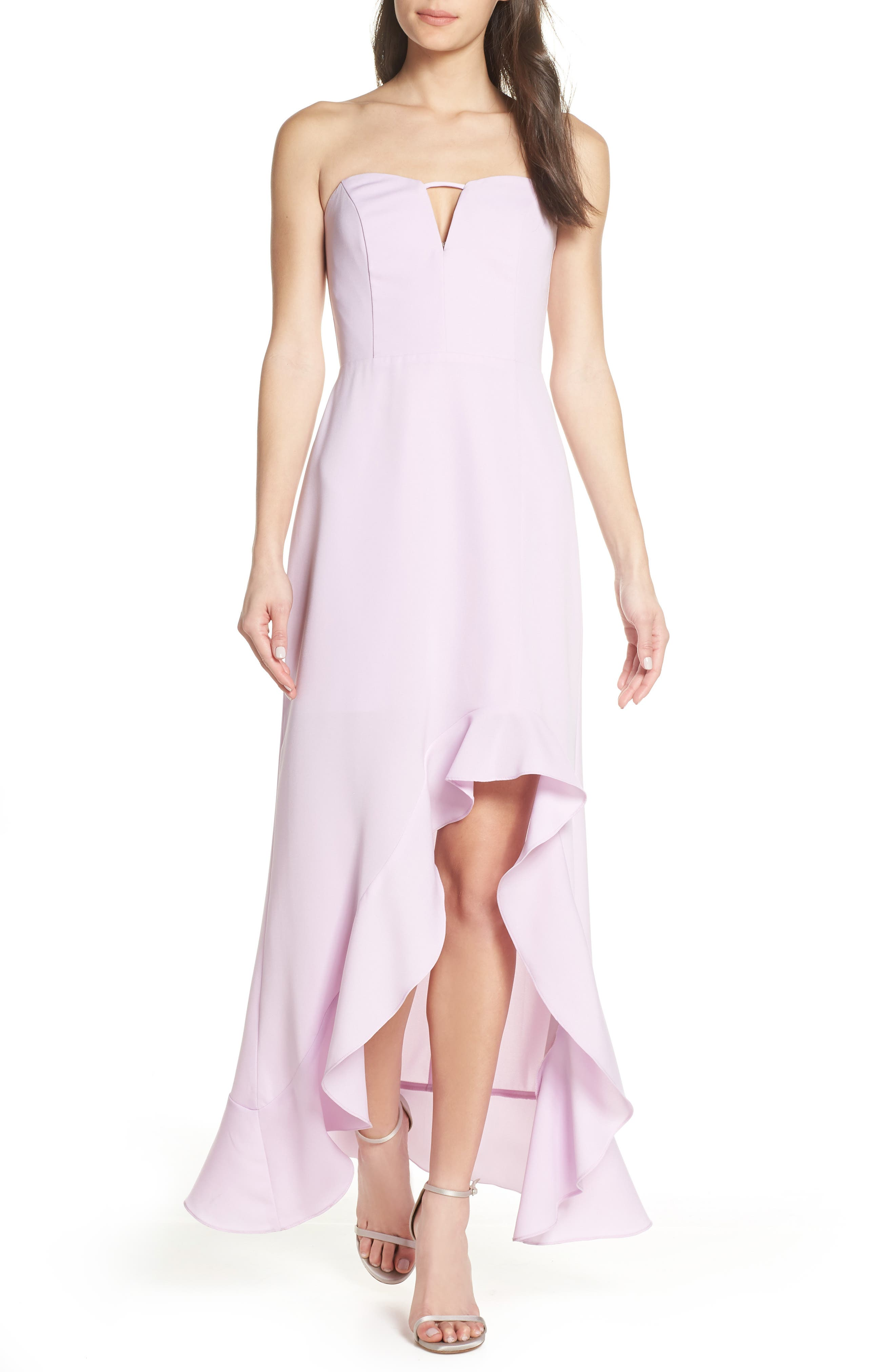 Harlyn Strapless High/low Ruffle Hem Gown, Purple