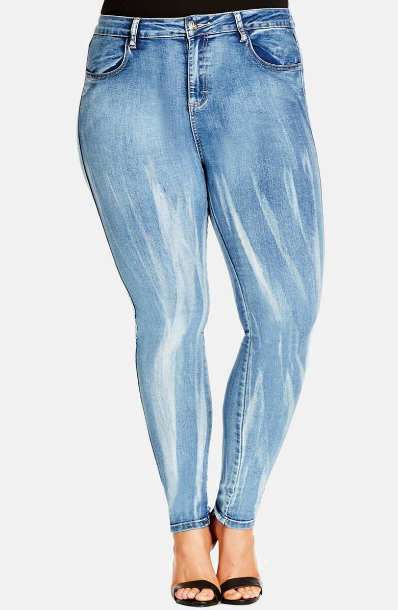 CITY CHIC 'X-Ray Apple' Distressed Skinny Jeans, Main, color, 410