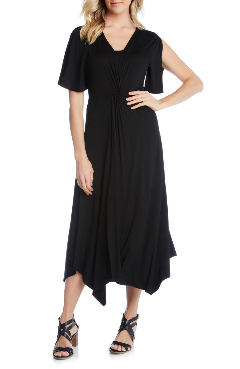 KAREN KANE Asymmetrical Twist Front Dress, Main, color, 001