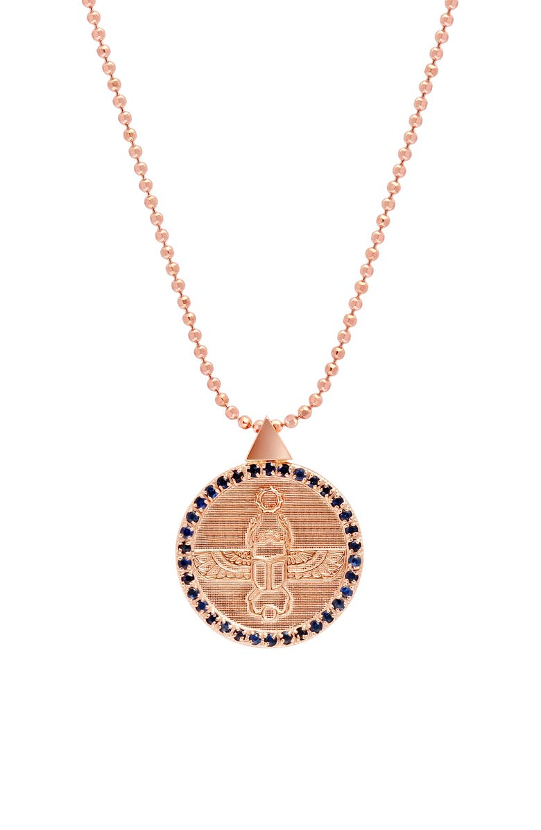 CONGÉS Scarab Transformation Coin Pendant Necklace, Main, color, ROSE GOLD/ BLUE
