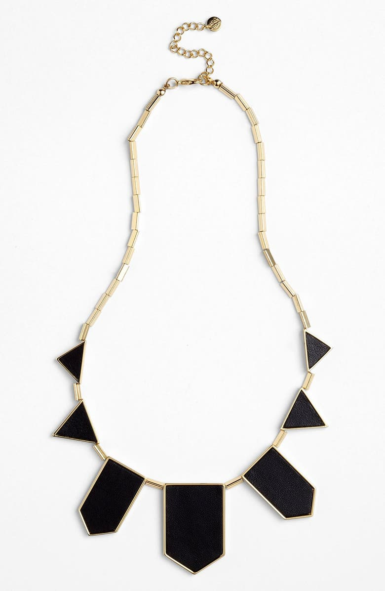 HOUSE OF HARLOW 1960 Leather Station Necklace, Main, color, 001