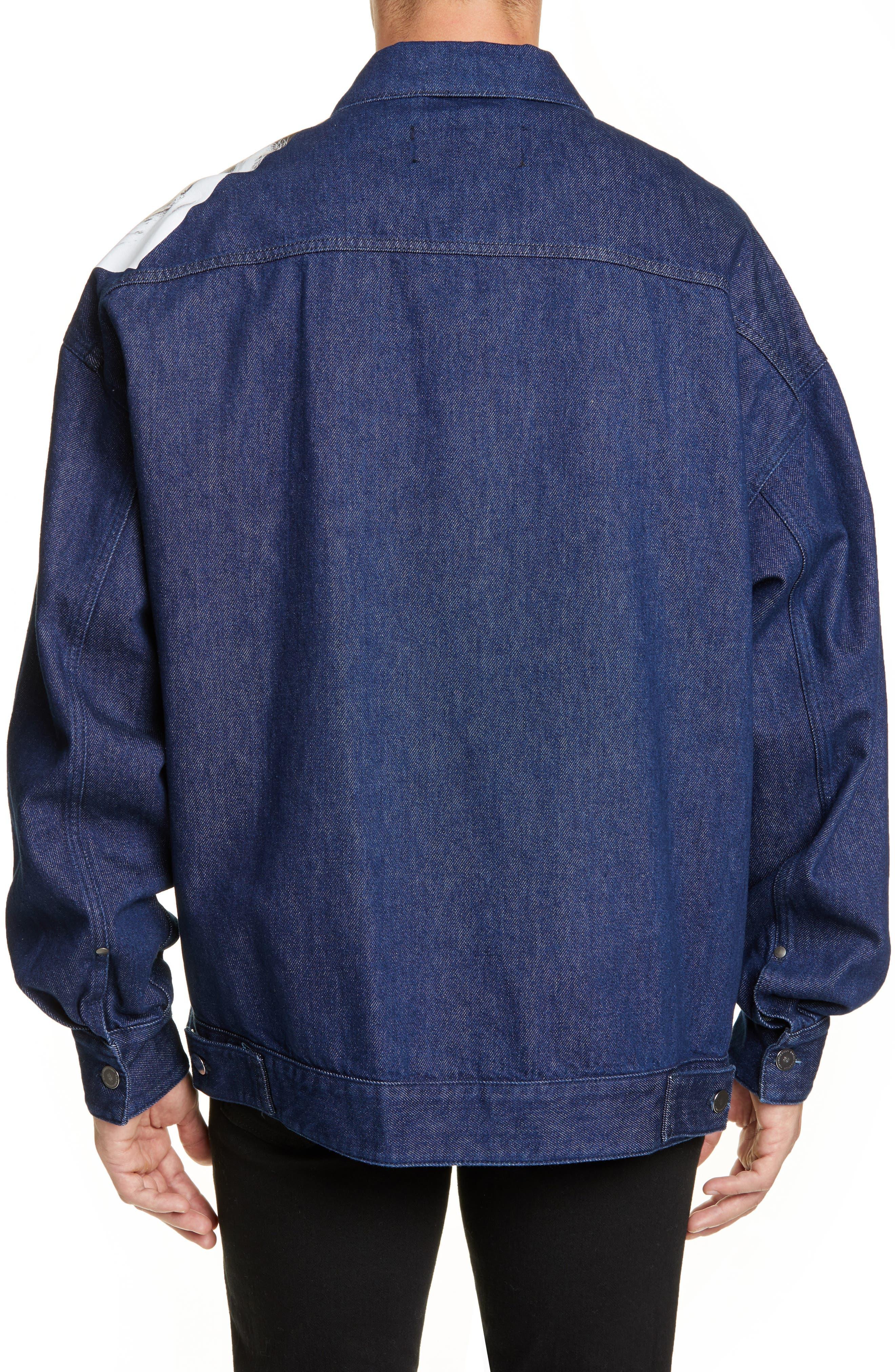 ,                             Punkette Oversize Denim Jacket,                             Alternate thumbnail 2, color,                             DARK NAVY