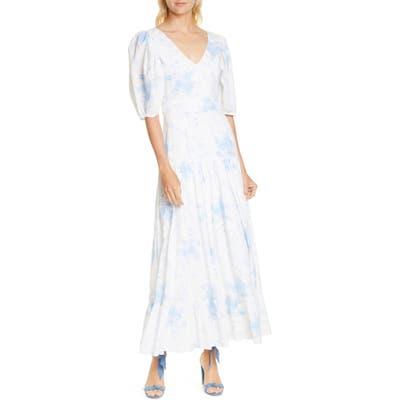 Loveshackfancy Lenny Watercolor Floral Maxi Dress, Grey