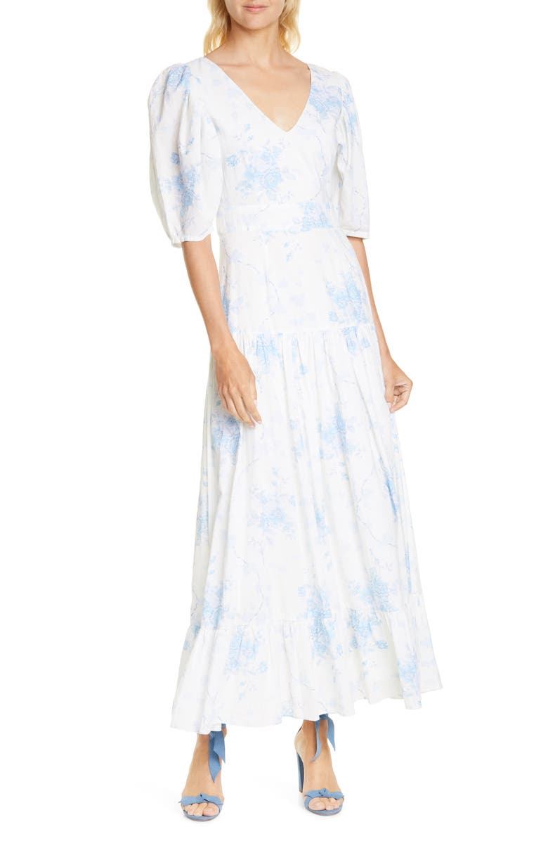 LOVESHACKFANCY Lenny Watercolor Floral Maxi Dress, Main, color, MORNING GREY