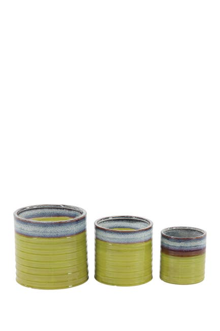 Image of Willow Row Contemporary Cylindrical Lime Green Porcelain Planters - Set of 3