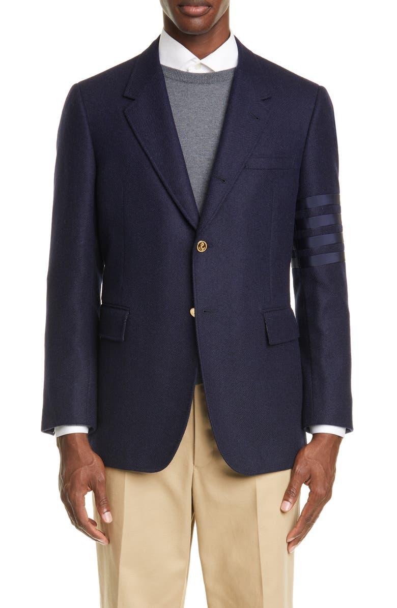THOM BROWNE Sleeve Stripe Wool Sport Coat, Main, color, NAVY