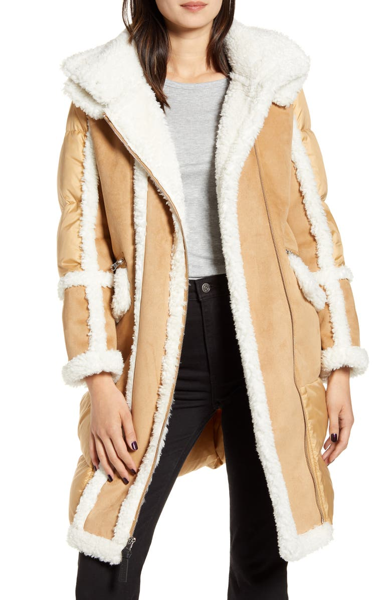 DEREK LAM 10 CROSBY Hooded Faux Shearling Down Coat, Main, color, 200