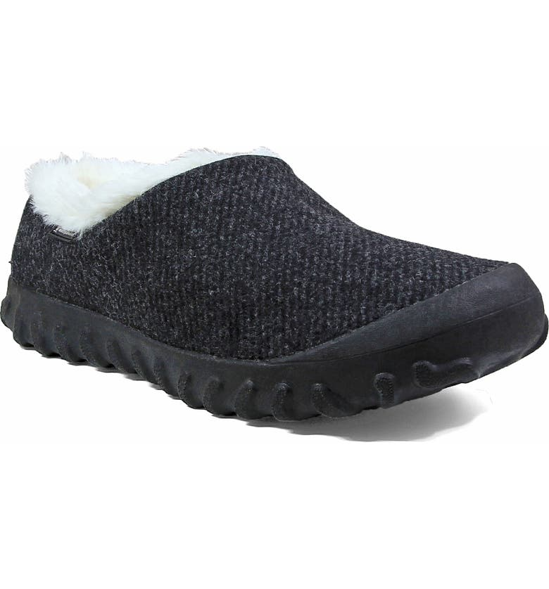 BOGS B-Moc Faux Fur Indoor/Outdoor Slipper, Main, color, BLACK WOOL