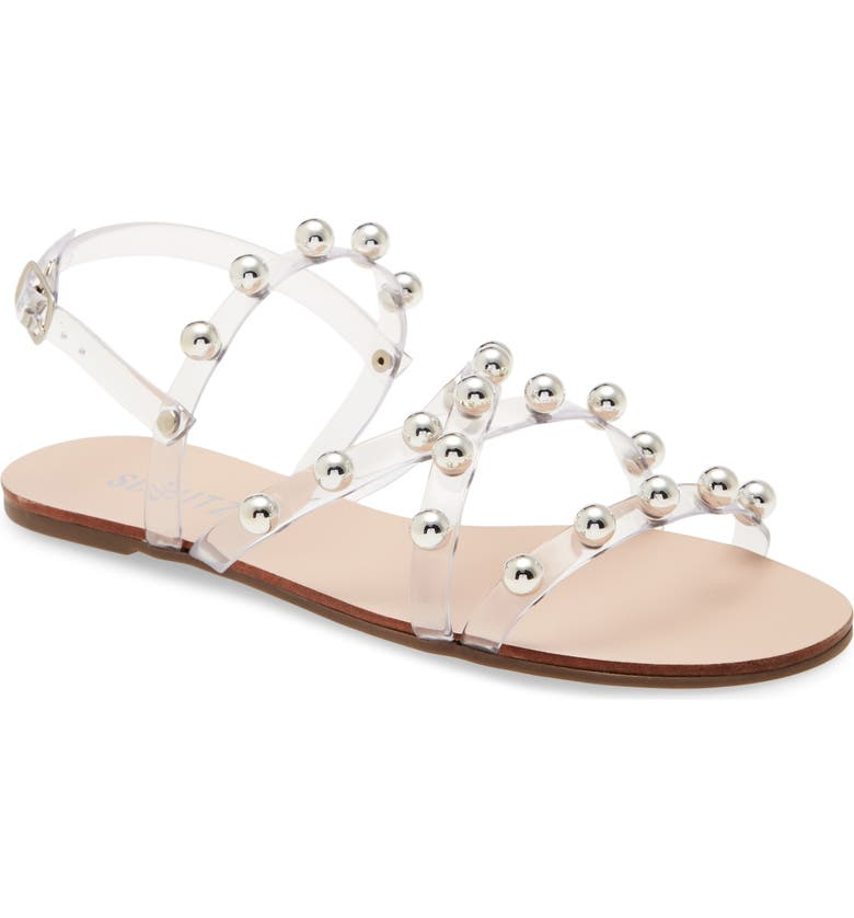 SCHUTZ Lina Clear Strappy Sandal, Main, color, TRANSPARENT/ SILVER DETAIL