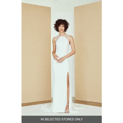 Nouvelle Amsale Archer Mesh Panel Sheath Wedding Dress, Size IN STORE ONLY - Ivory