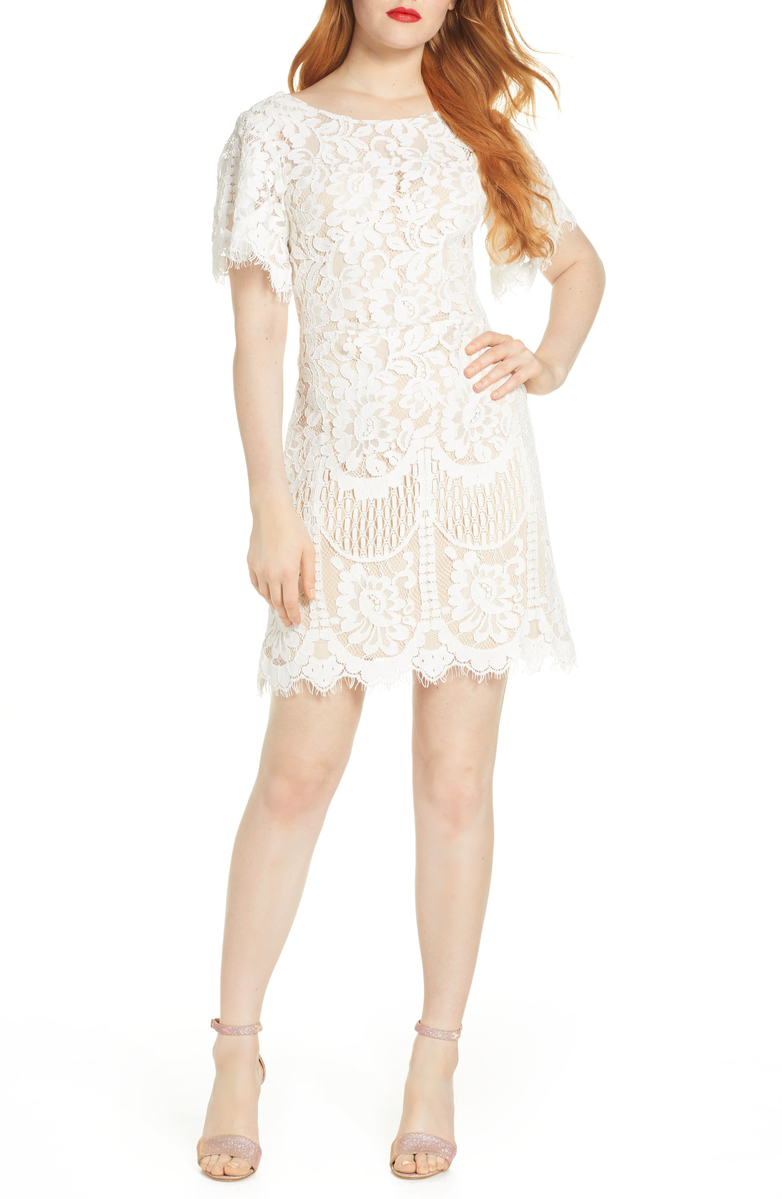 Lulus Pearson Short Sleeve Lace Cocktail Dress, White