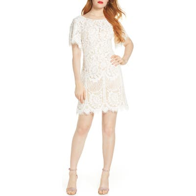 Lulus Pearson Short Sleeve Lace Cocktail Minidress, White