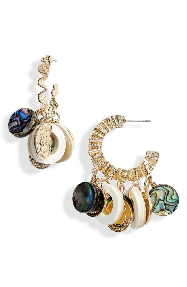 AKOLA Charm Hoop Earrings, Main, color, BLONDE