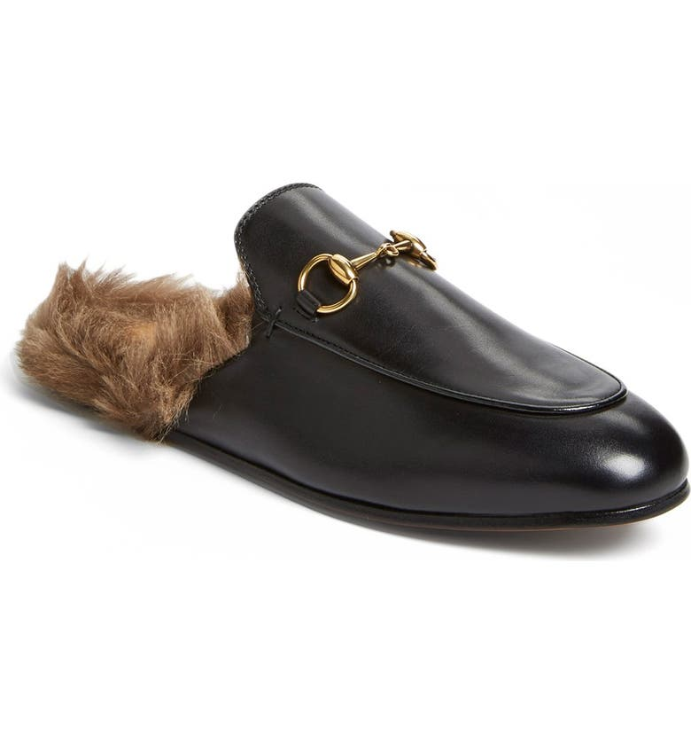 GUCCI Princetown Genuine Shearling Loafer Mule, Main, color, 001