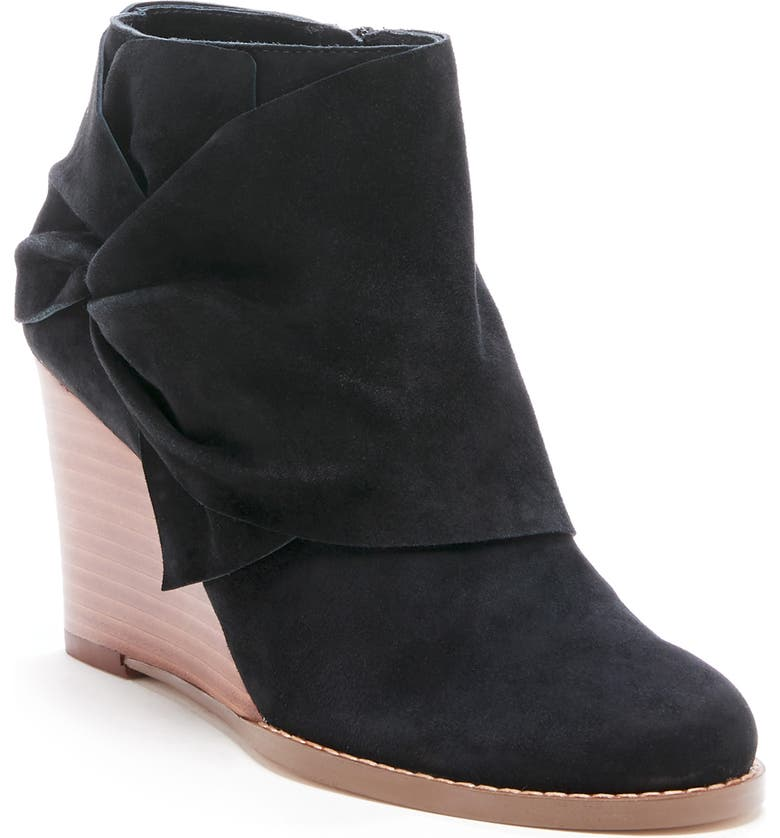 SOLE SOCIETY Pegie Wedge Bootie, Main, color, BLACK SUEDE