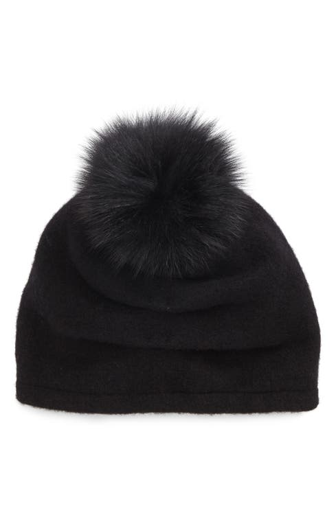 2d94bd8bd Helene Berman Slouchy Wool Knit Beanie with Genuine Fox Fur Pom ...