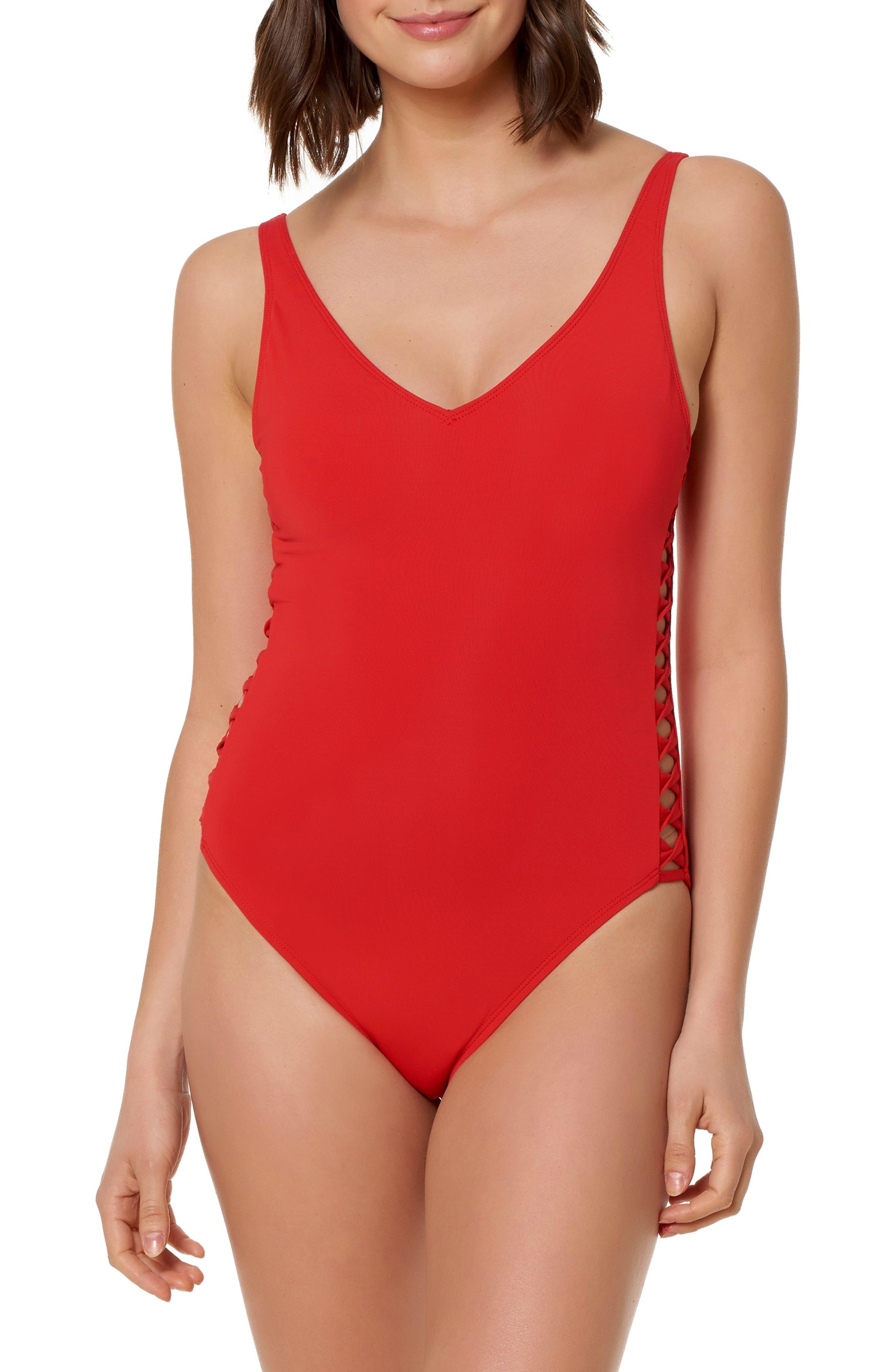 Bleu By Rod Beattie Lattice One-Piece Swimsuit, Red