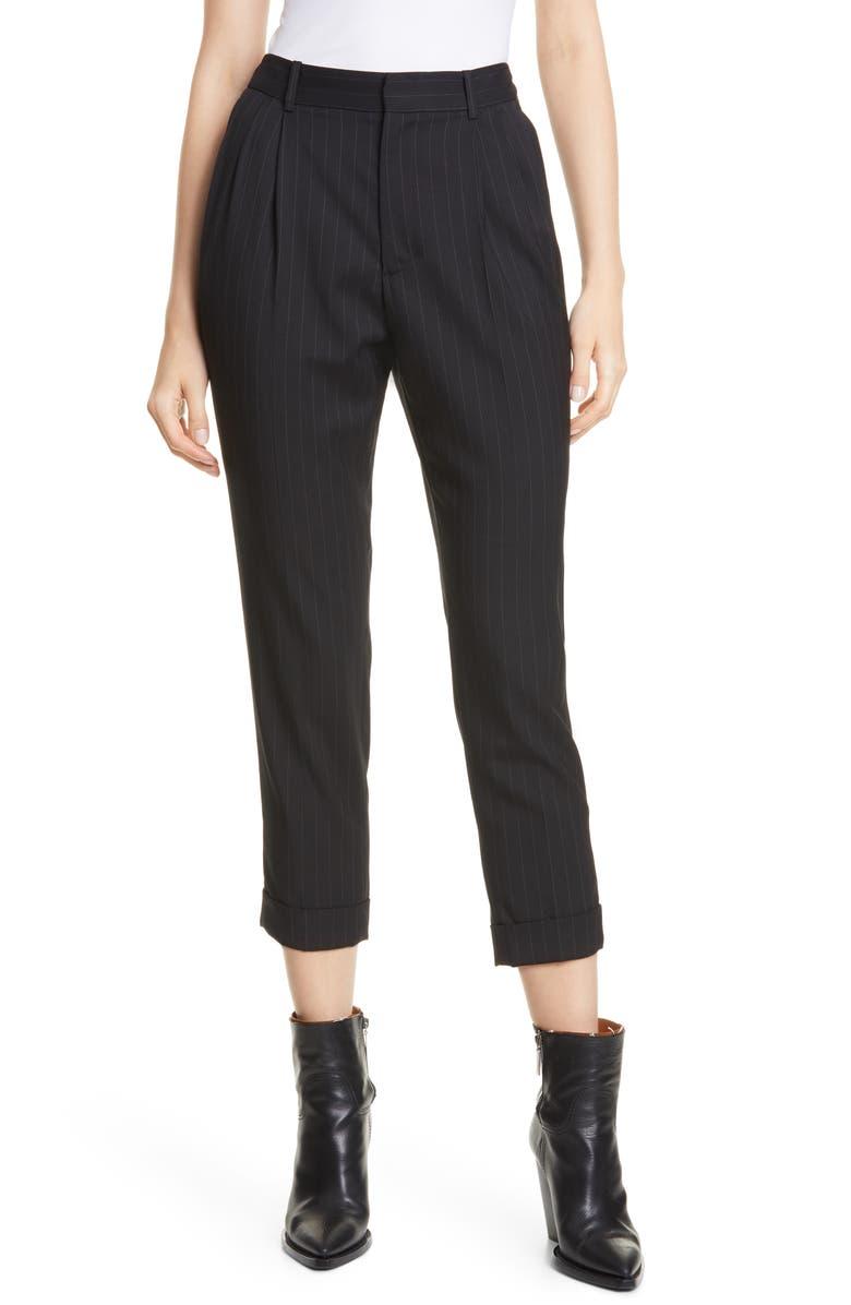 NILI LOTAN Montana Pinstripe Stretch Wool Pants, Main, color, BLACK/ IVORY