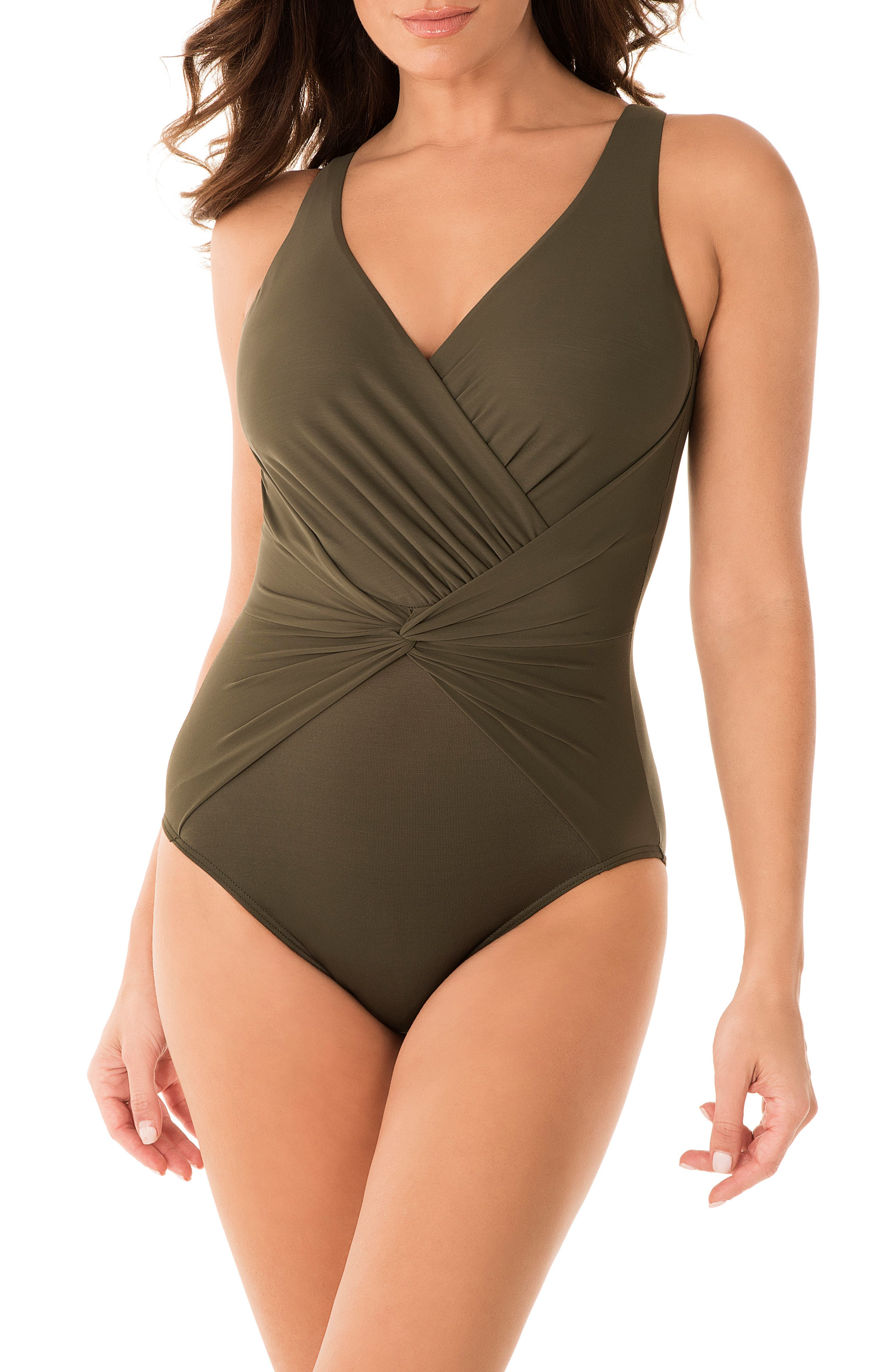 Miraclesuit Rock Solid Twister One-Piece Swimsuit, Green